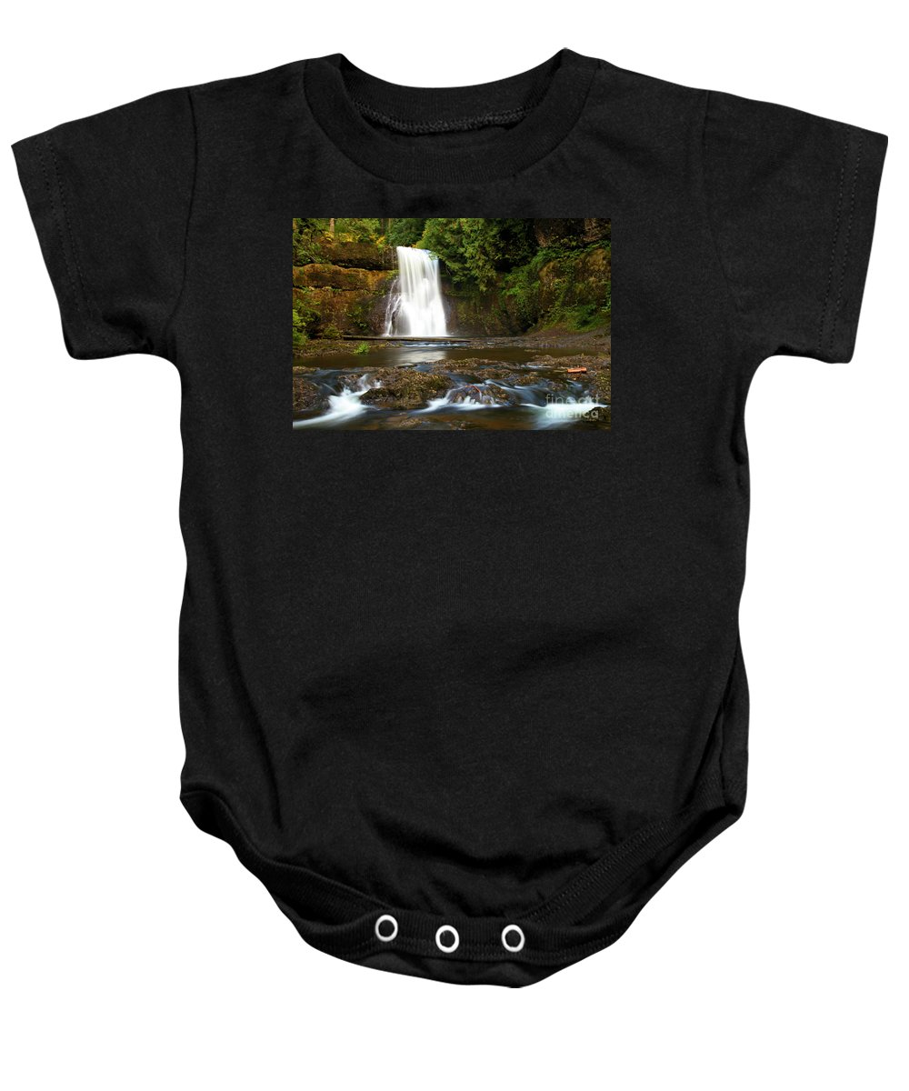 Silver Falls State Park Baby Onesie featuring the photograph Silver Falls Waterfall by Adam Jewell