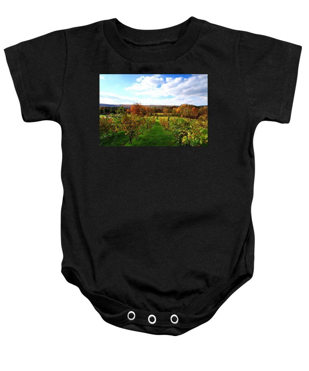 Autumn Baby Onesie featuring the photograph Six Miles Creek Vineyard by Paul Ge