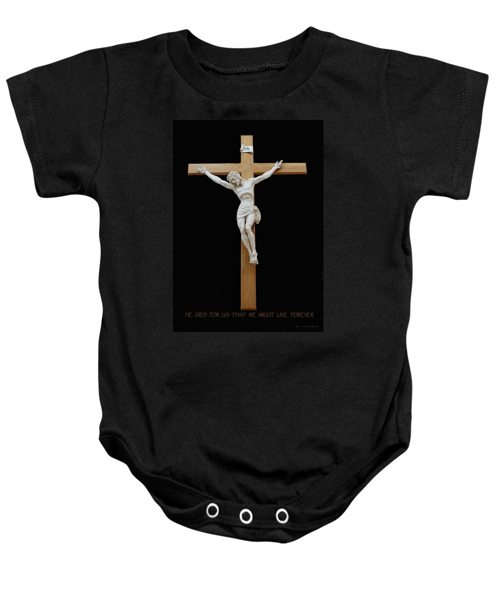 Jesus Baby Onesie featuring the photograph Sjncc Crucifix 1 Two K Eleven by Carl Deaville