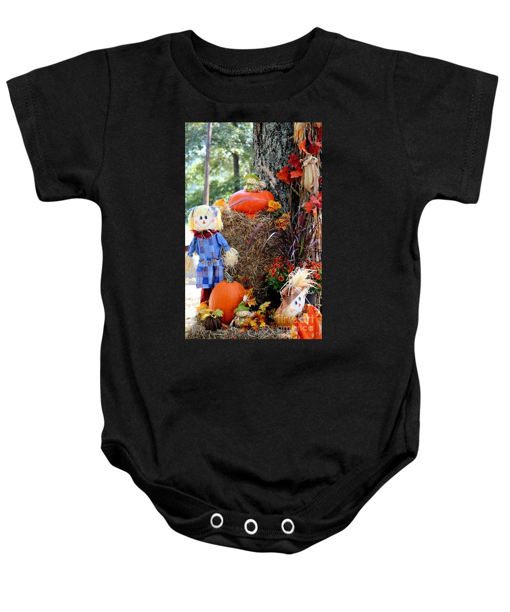 Smile It's Autumn Baby Onesie featuring the photograph Smile It's Autumn by Maria Urso
