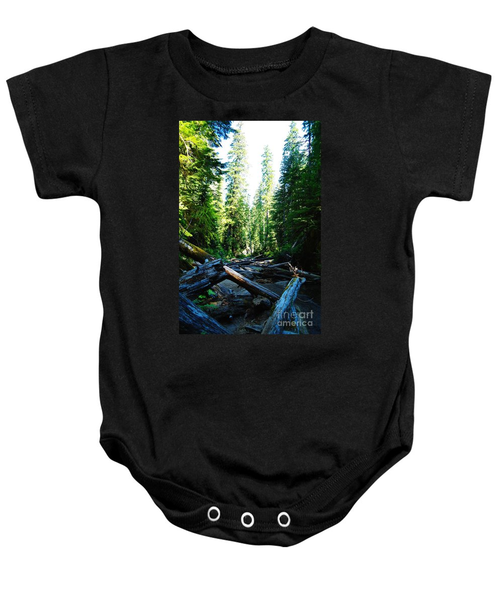 Trees Baby Onesie featuring the photograph Snag On Iron Creek by Jeff Swan