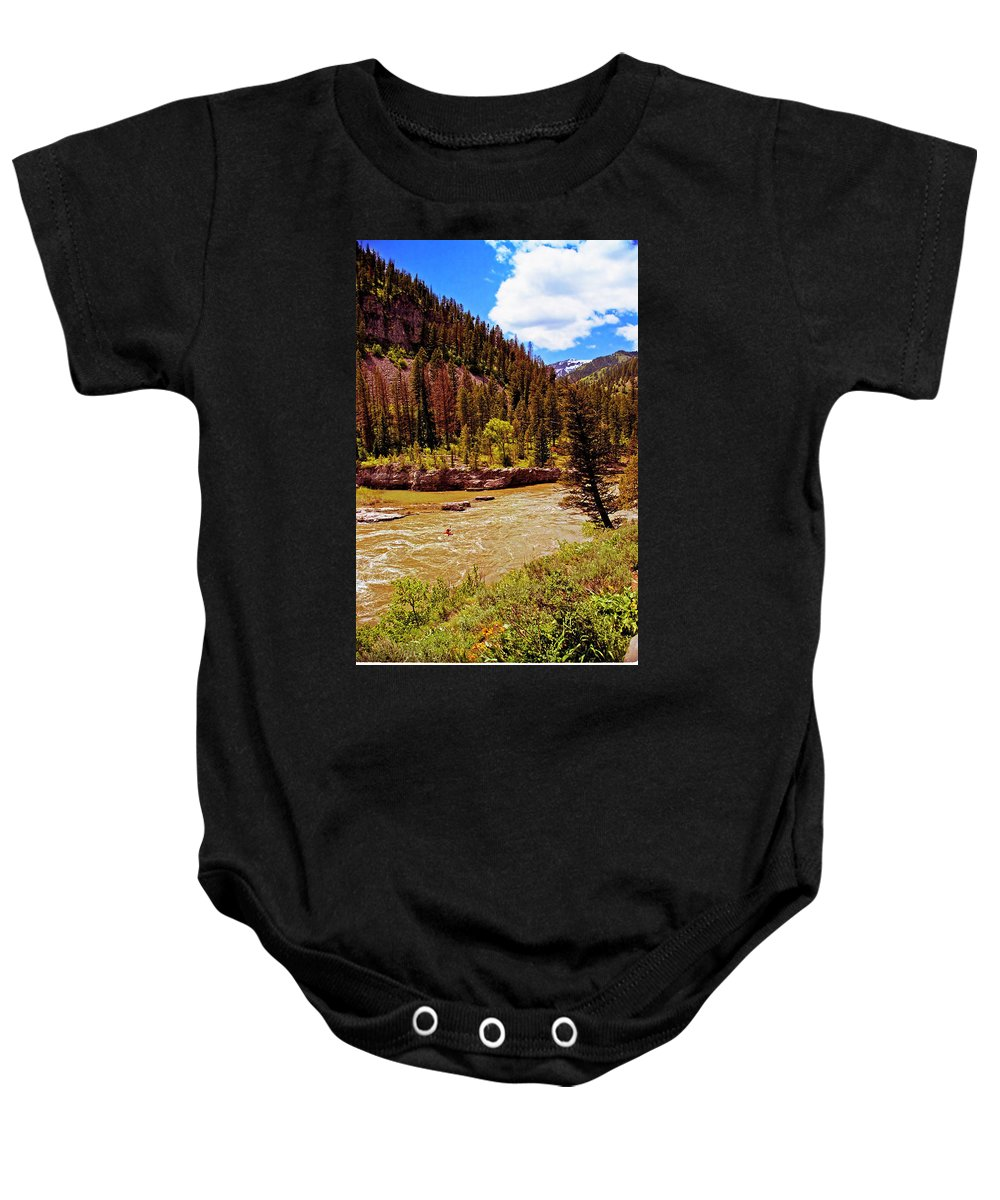 Wyoming Baby Onesie featuring the photograph Snake River And Kayaker by Rich Walter
