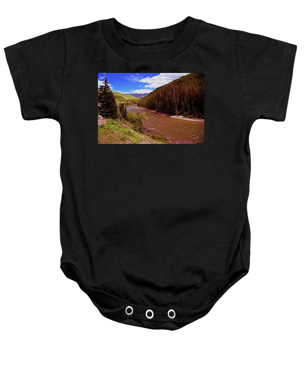 Wyoming Baby Onesie featuring the photograph Snake River And Rafters by Rich Walter
