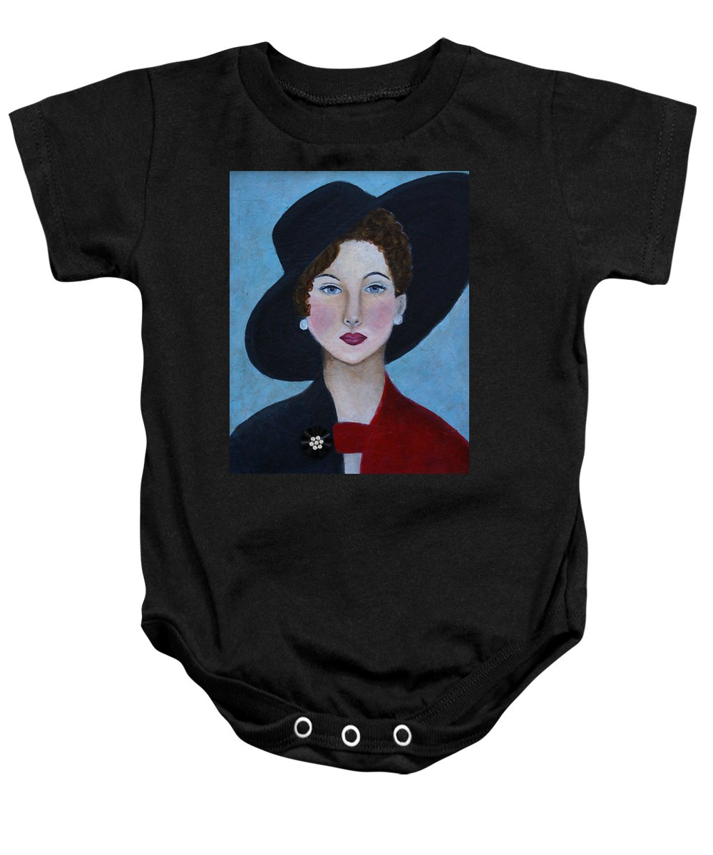 Lady In Hat Baby Onesie featuring the painting Sophia by The Art With A Heart By Charlotte Phillips
