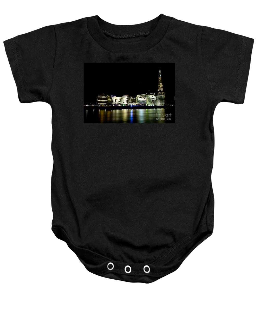 Night Baby Onesie featuring the photograph Southbank London At Night by David Pyatt