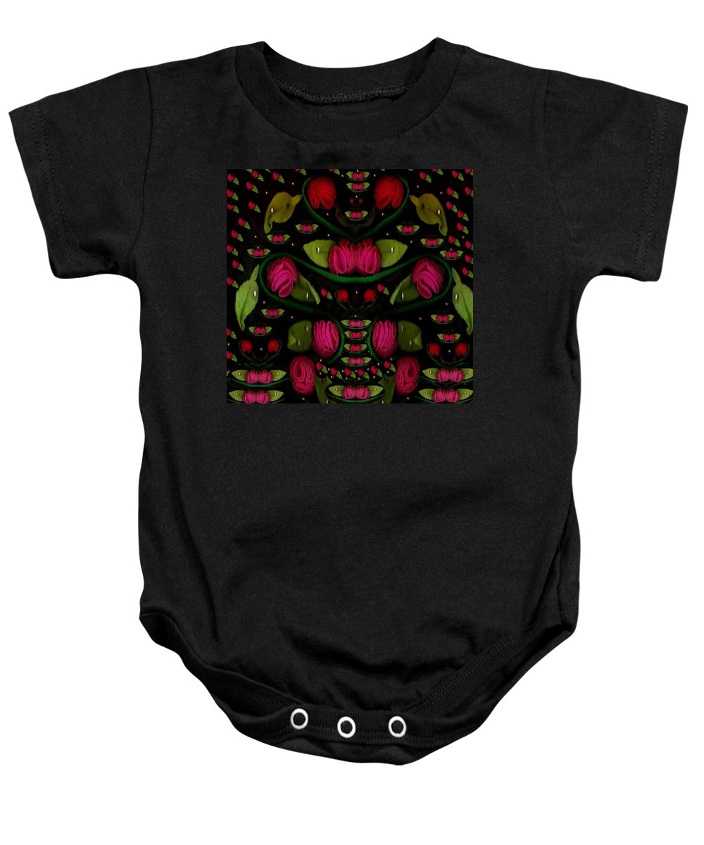 Roses Baby Onesie featuring the mixed media Spanish Flamenco Roses In Fantasy Style by Pepita Selles