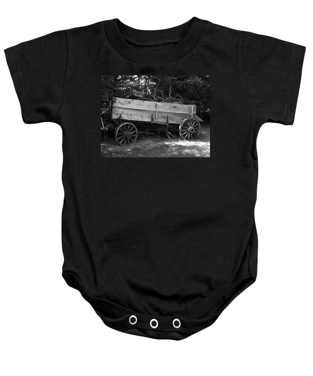 Wagon Baby Onesie featuring the photograph Splintered Wheels by Charleen Treasures