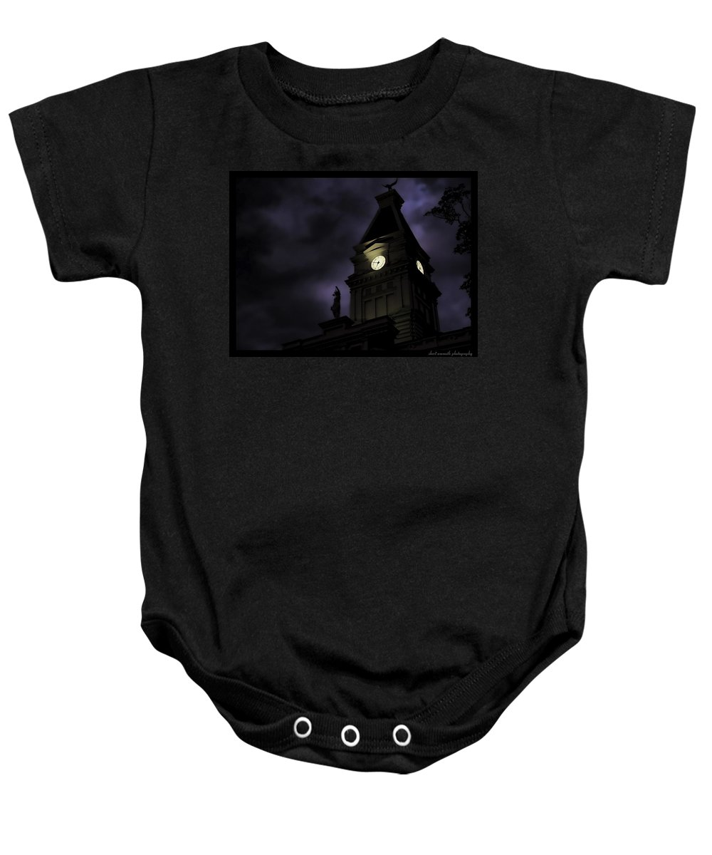 Blue Baby Onesie featuring the photograph Spooky by Sheri Bartoszek