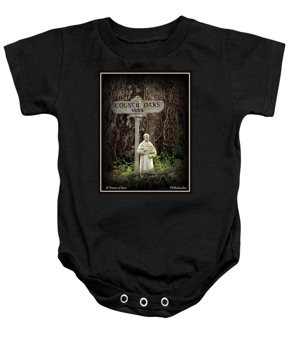 St Francis Baby Onesie featuring the photograph St Francis by Priscilla Richardson