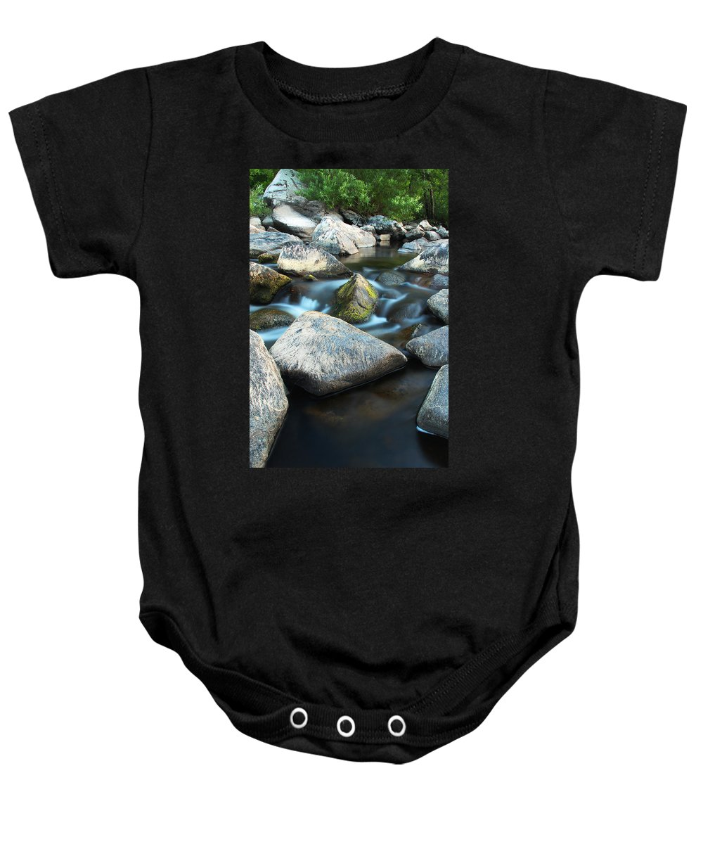 St Francis River Baby Onesie featuring the photograph St Francis River At Dusk I by Greg Matchick