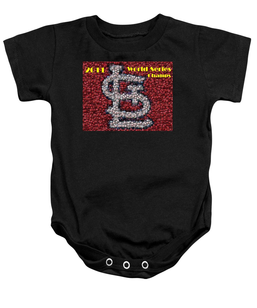 St. Louis Cardinals Baby Onesie featuring the mixed media St. Louis Cardinals World Series Bottle Cap Mosaic by Paul Van Scott