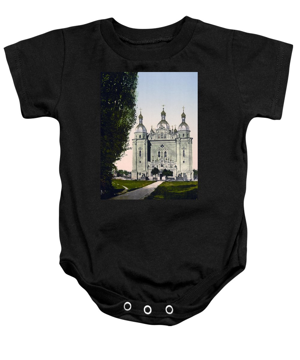 st. Paul Baby Onesie featuring the photograph St Paul And St Peter Cathedrals In Kiev - Ukraine - Ca 1900 by International Images