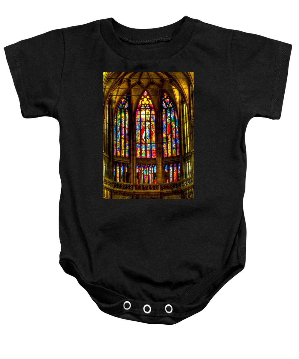St Vitus Cathedral Baby Onesie featuring the photograph St Vitus Main Altar Stained Glass by Jon Berghoff