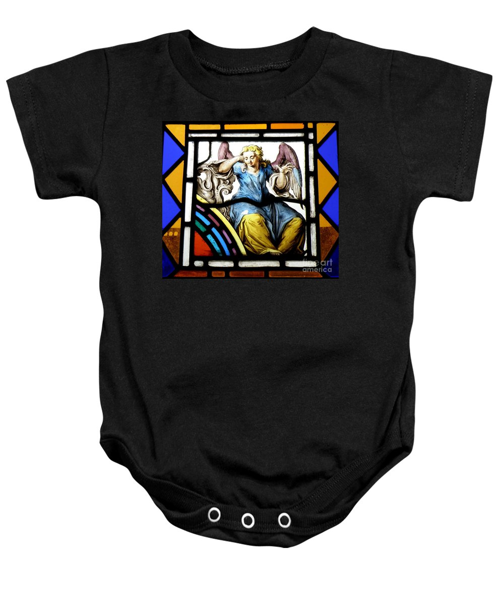 Angle Baby Onesie featuring the photograph Stained Glass Angel by Lainie Wrightson