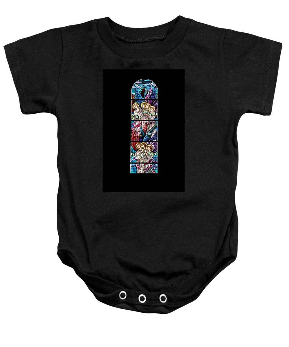 Glass Art Baby Onesie featuring the digital art Stained Glass Pc 07 by Thomas Woolworth