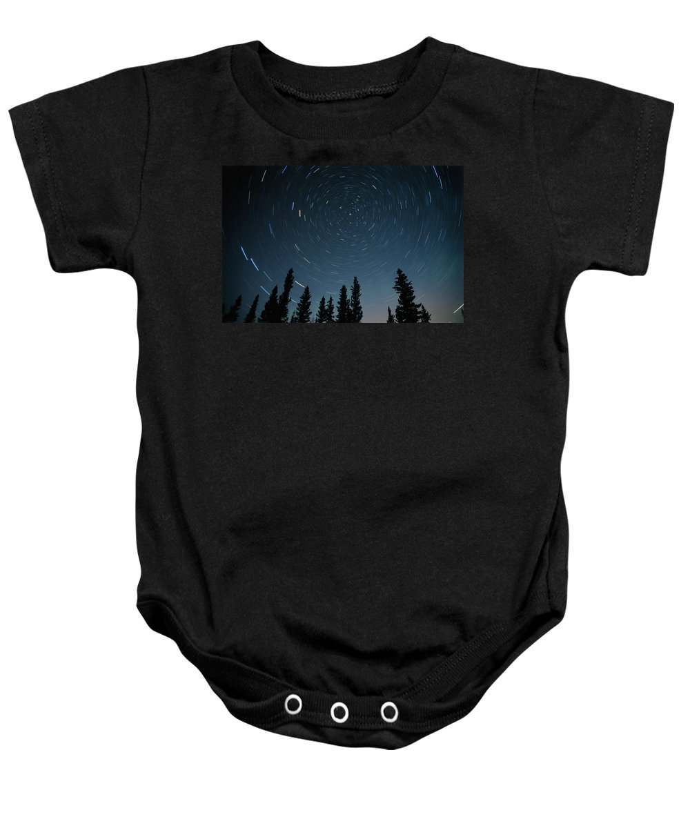 Color Images Baby Onesie featuring the photograph Star Trails, Sandilands Provincial by Mike Grandmailson