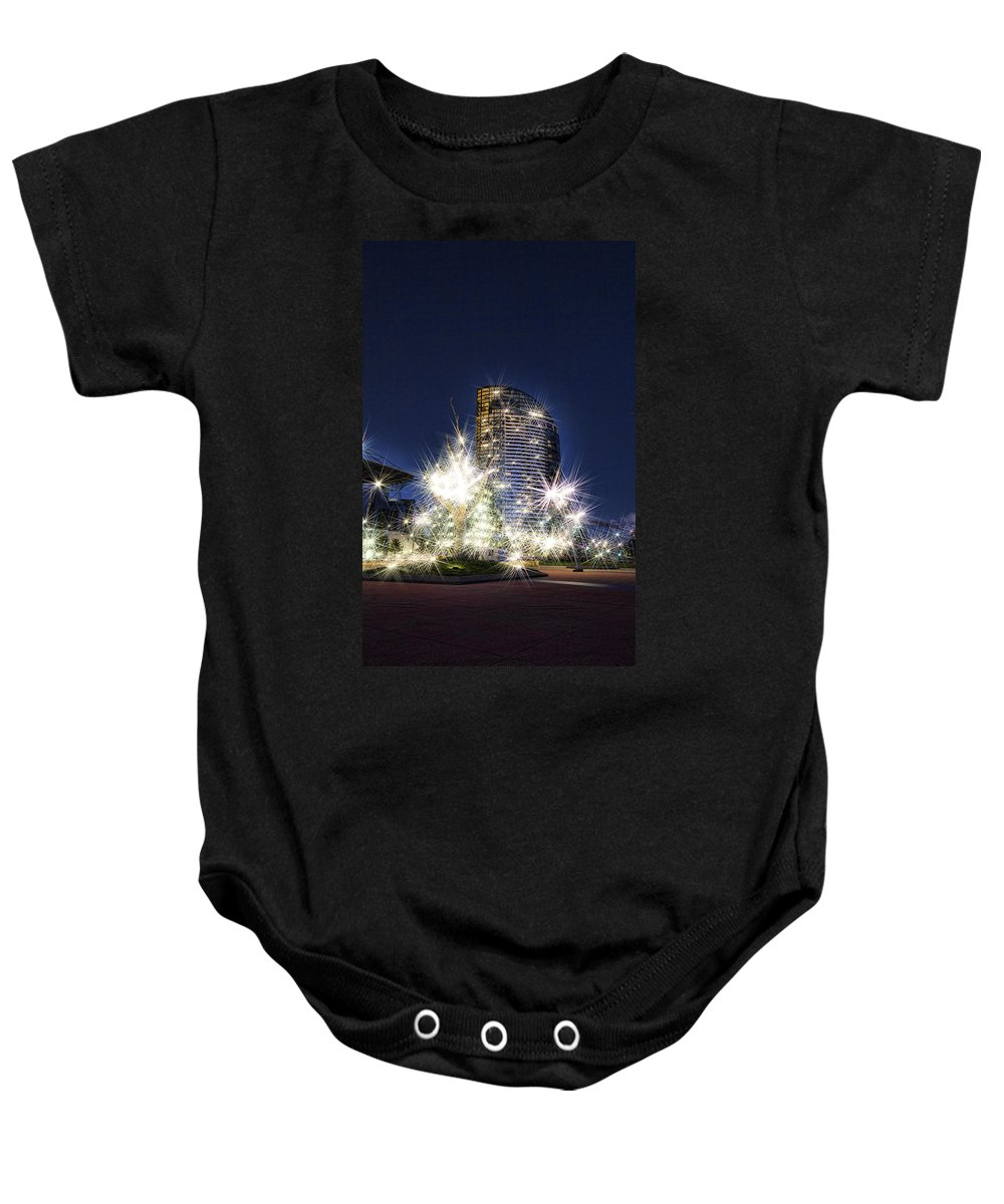 Night Baby Onesie featuring the photograph Starlight Building by Douglas Barnard