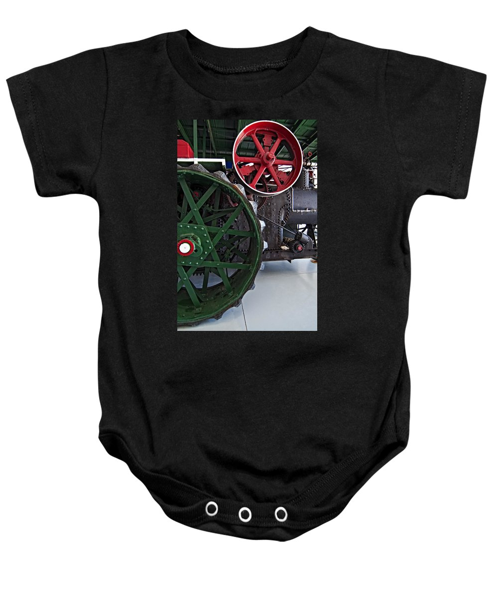 Grey Roots Museum & Archives Baby Onesie featuring the photograph Steam Power by Steve Harrington