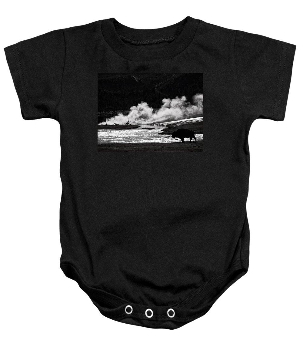 Bison Baby Onesie featuring the photograph Steaming Bison by Derek Holzapfel