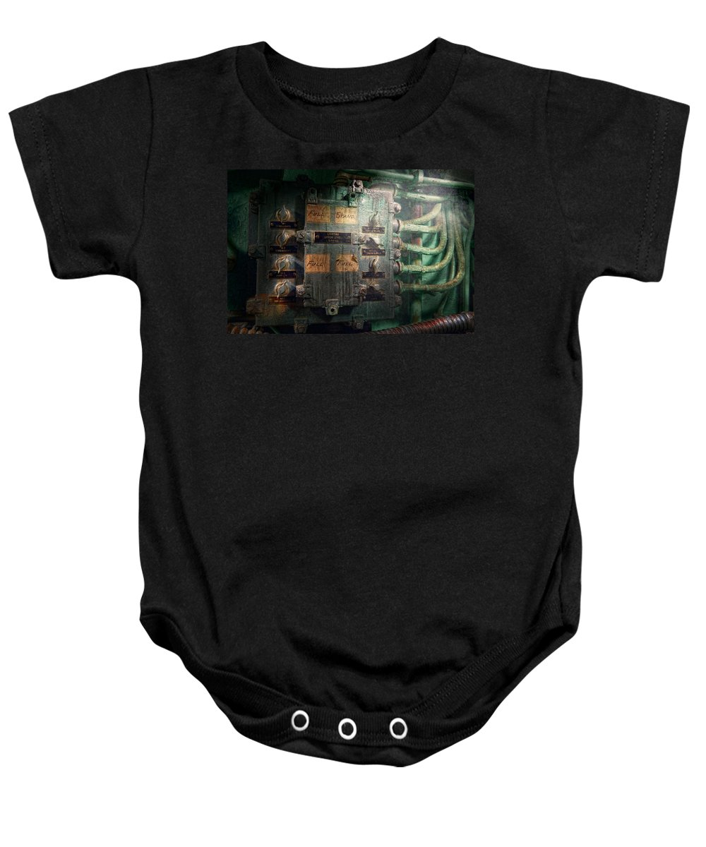 Steampunk Baby Onesie featuring the photograph Steampunk - Naval - Electric - Lighting Control Panel by Mike Savad