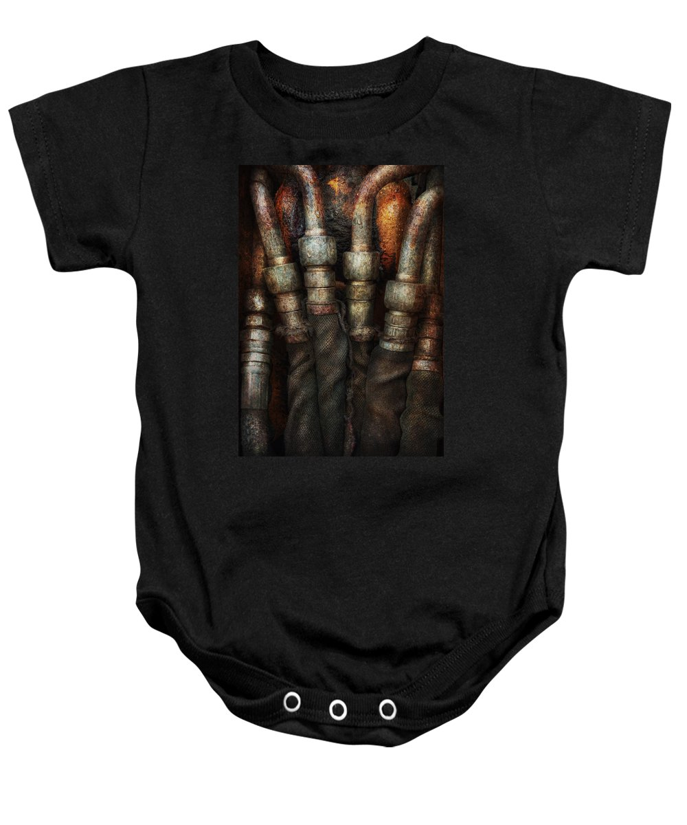 Hdr Baby Onesie featuring the photograph Steampunk - Pipes by Mike Savad