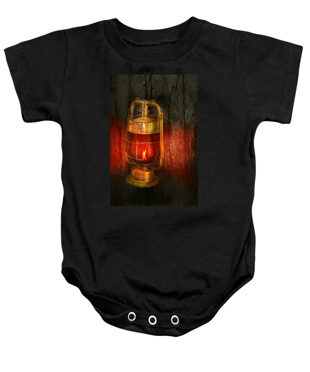 Redlight Baby Onesie featuring the photograph Steampunk - Red Light District by Mike Savad