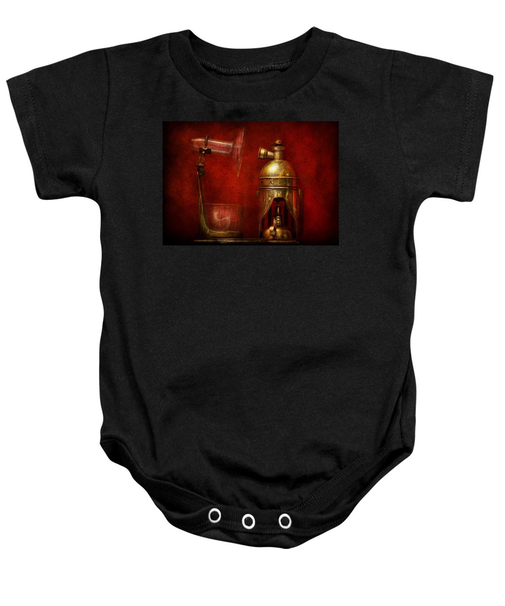 Torch Baby Onesie featuring the photograph Steampunk - The Torch by Mike Savad