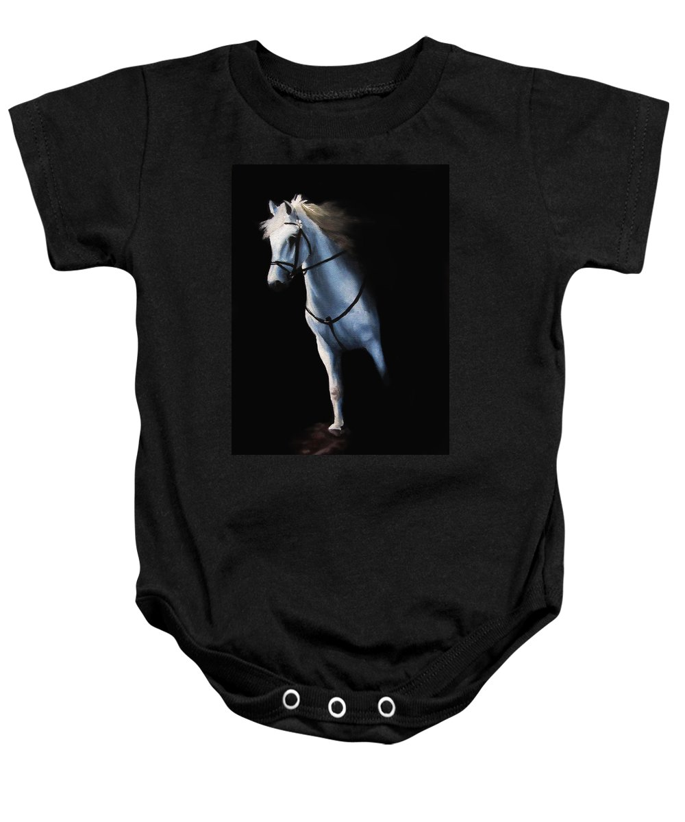 Stepping Baby Onesie featuring the painting Stepping Into The Spotlight by Kayleigh Semeniuk