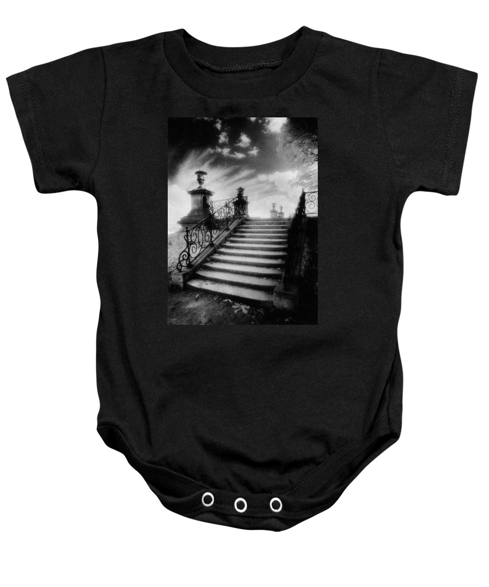French Architecture; Outdoors; Staircase; Balustrade Baby Onesie featuring the photograph Steps At Chateau Vieux by Simon Marsden