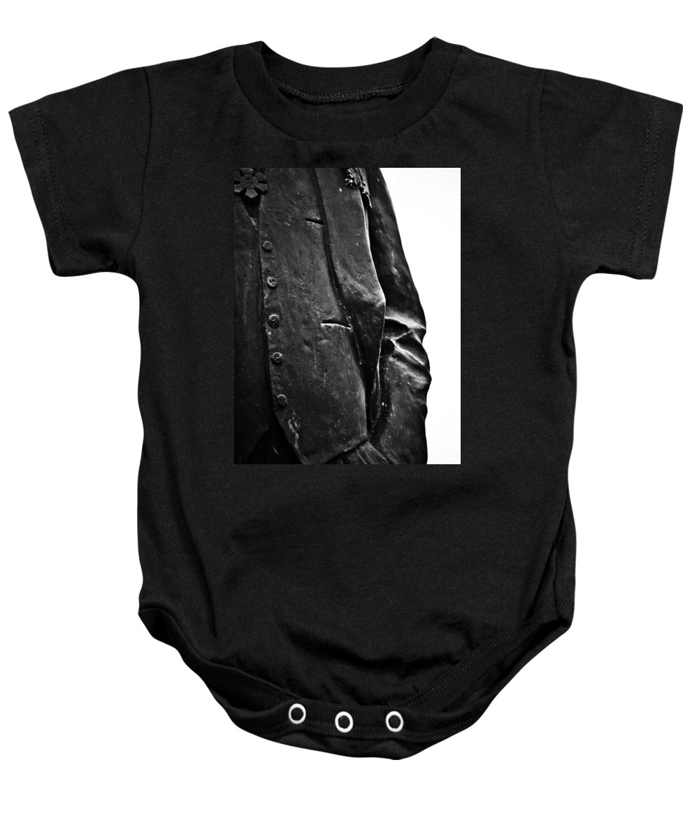 Black And White World Photographer Baby Onesie featuring the photograph Stiff Colar by The Artist Project