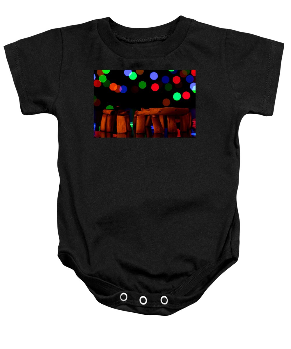 Stonehenge Baby Onesie featuring the photograph Stonehenge In Starry Night by Paul Ge