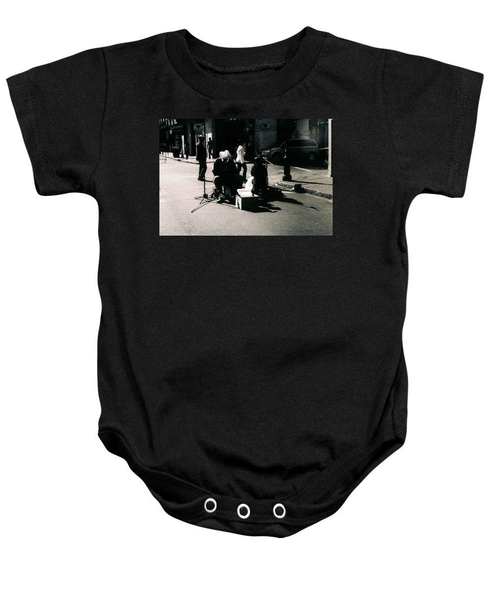 Bourbon Street Baby Onesie featuring the photograph Street Musicians- Grandpa Elliot by Doug Duffey