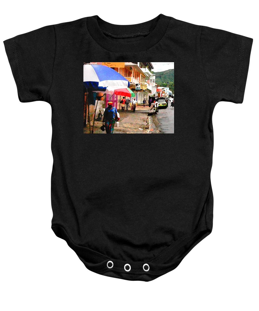 Rosea Baby Onesie featuring the photograph Street Scene In Rosea Dominica Filtered by Duane McCullough