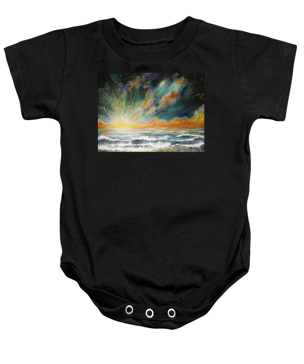 Sea Baby Onesie featuring the painting Sun Crash by Naomi Walker