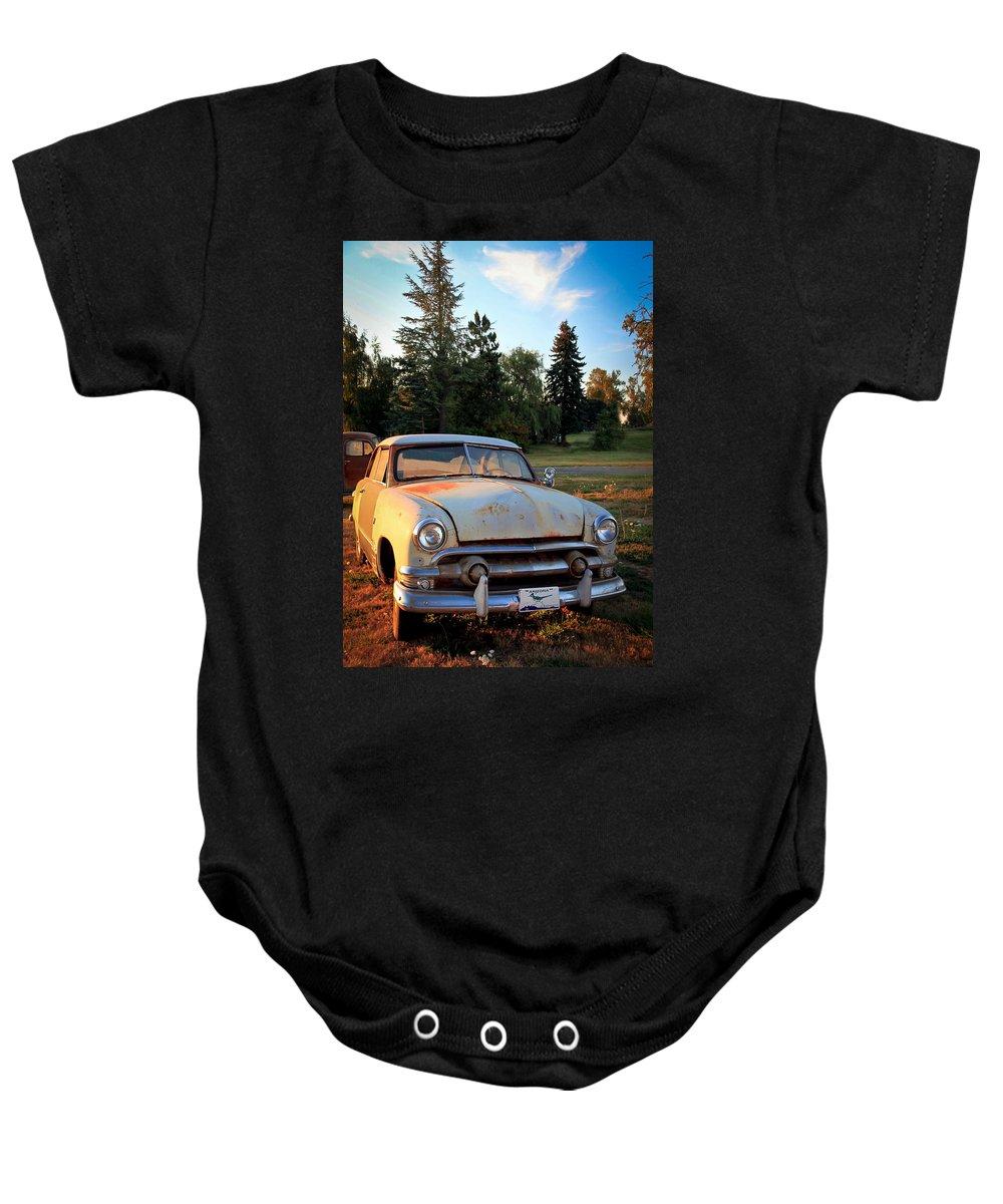 50 Chevy Baby Onesie featuring the photograph Sundown Chevy by Athena Mckinzie