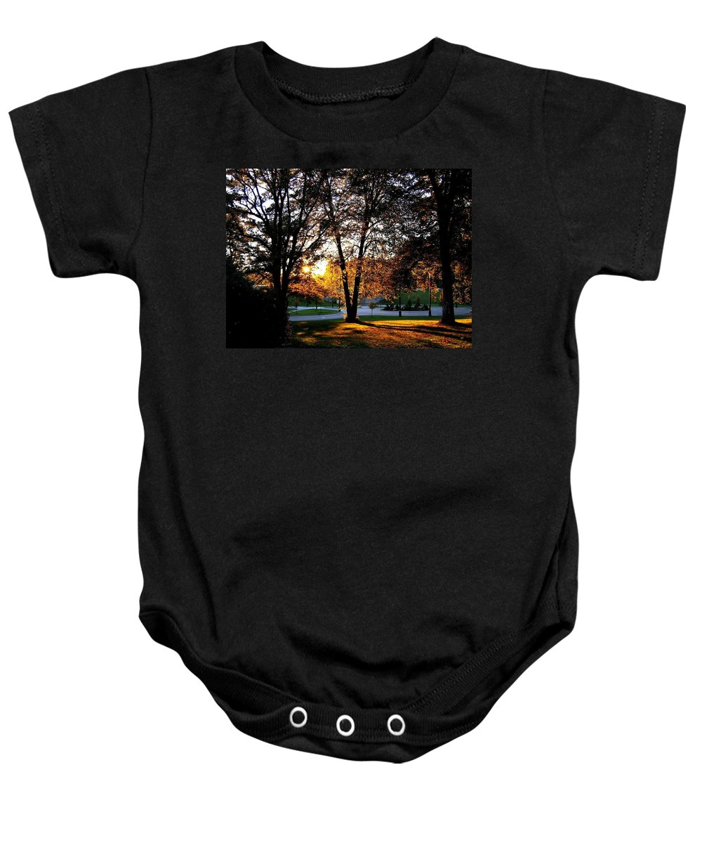 Stanley Park Baby Onesie featuring the photograph Sundown In Stanley Park by Will Borden