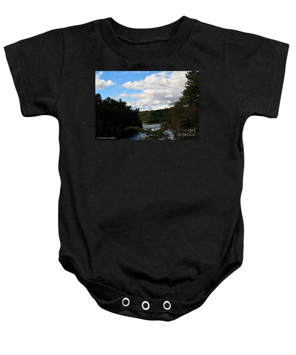 Landscape Baby Onesie featuring the photograph Sunny Around The Bend by Susan Herber