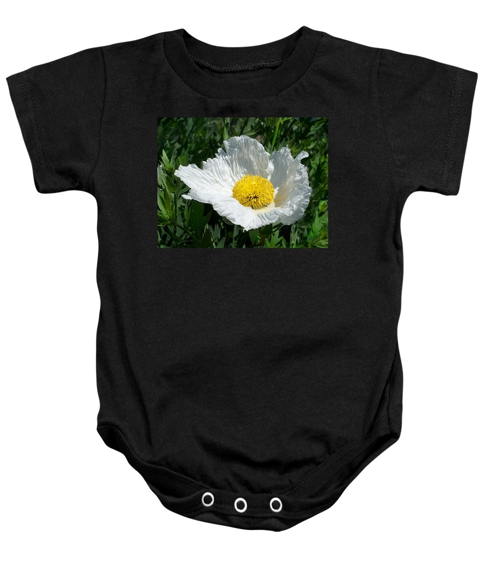 White Baby Onesie featuring the photograph Sunny Side Flower by Sumi Martin