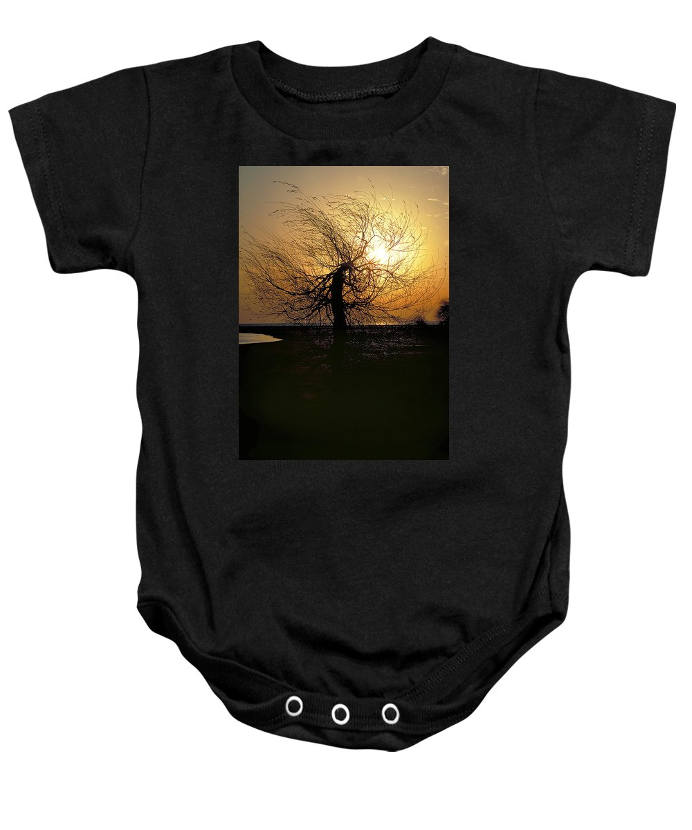 Tree Baby Onesie featuring the photograph Sunrise And Tree by Thomas Firak