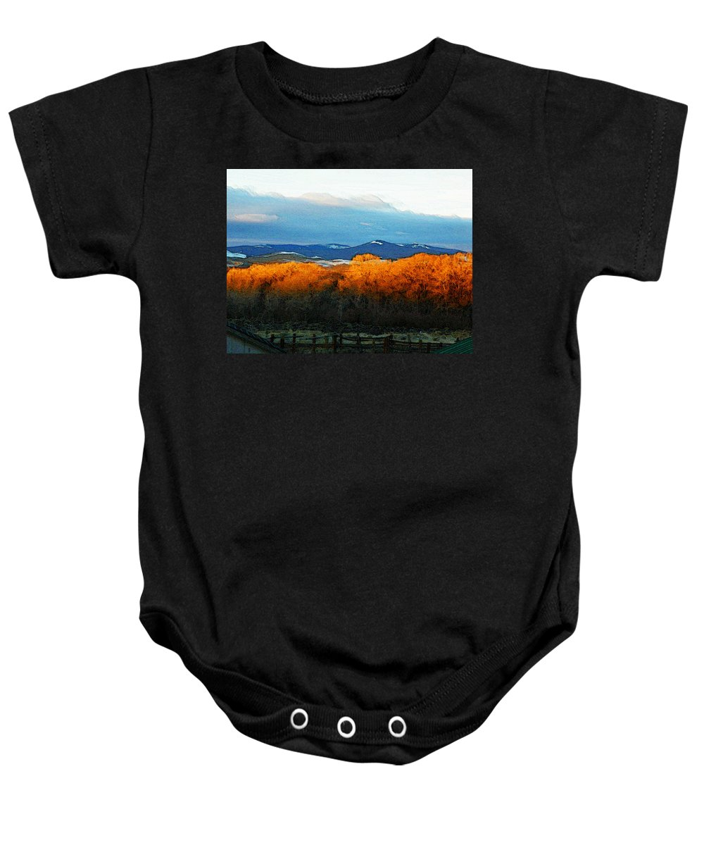 Abstract Baby Onesie featuring the photograph Sunrise On Trees by Lenore Senior