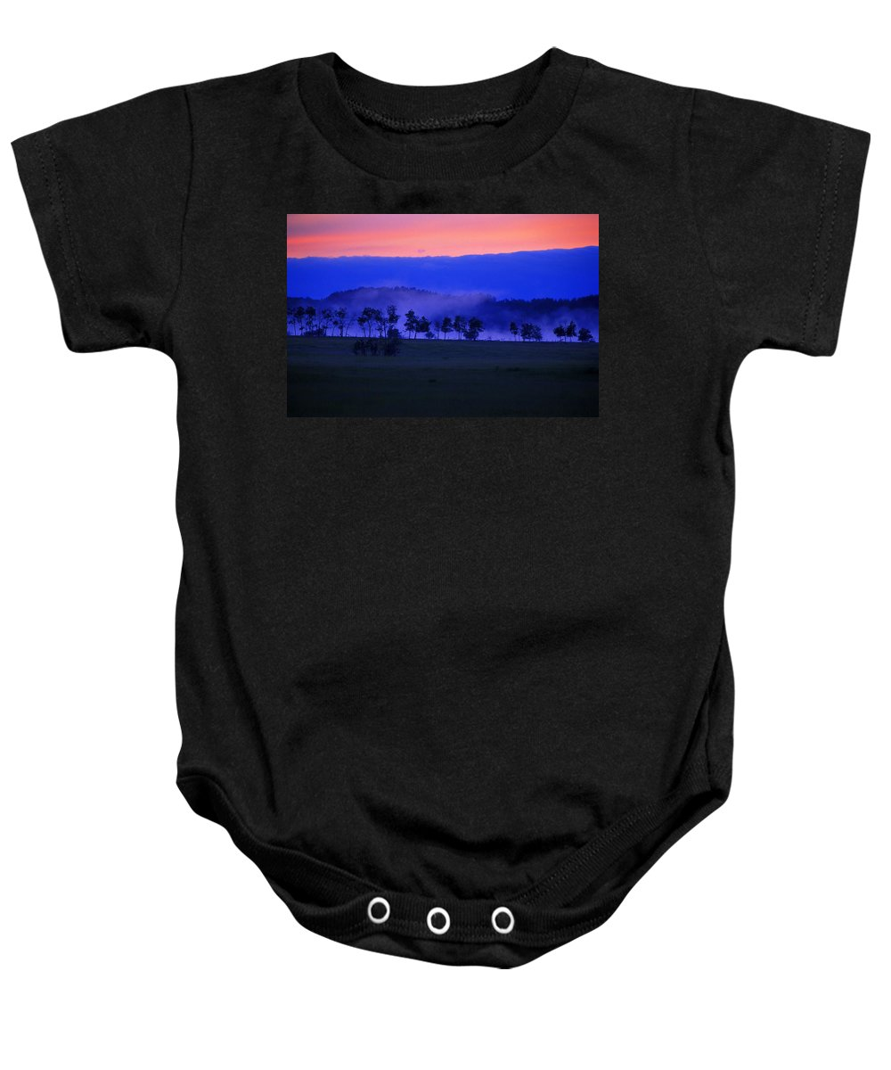 Fields Baby Onesie featuring the photograph Sunrise Over Field With Trees by Jason Witherspoon