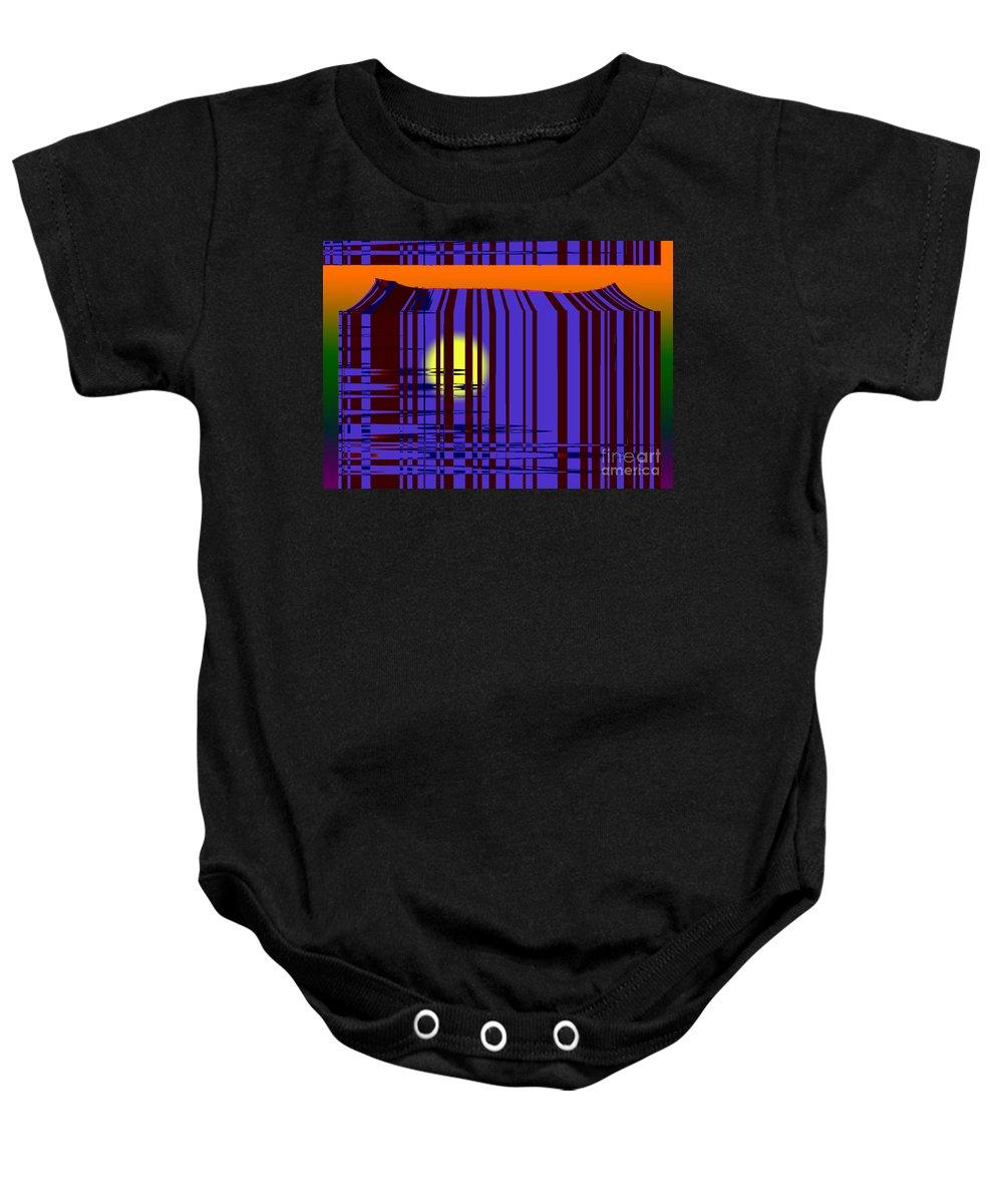 Sun Baby Onesie featuring the digital art Sunset Grid by Tom Hubbard