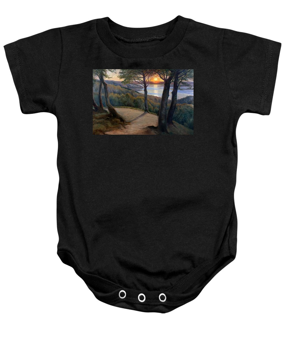 Sunset Baby Onesie featuring the painting Sunset by Hans Agersnap