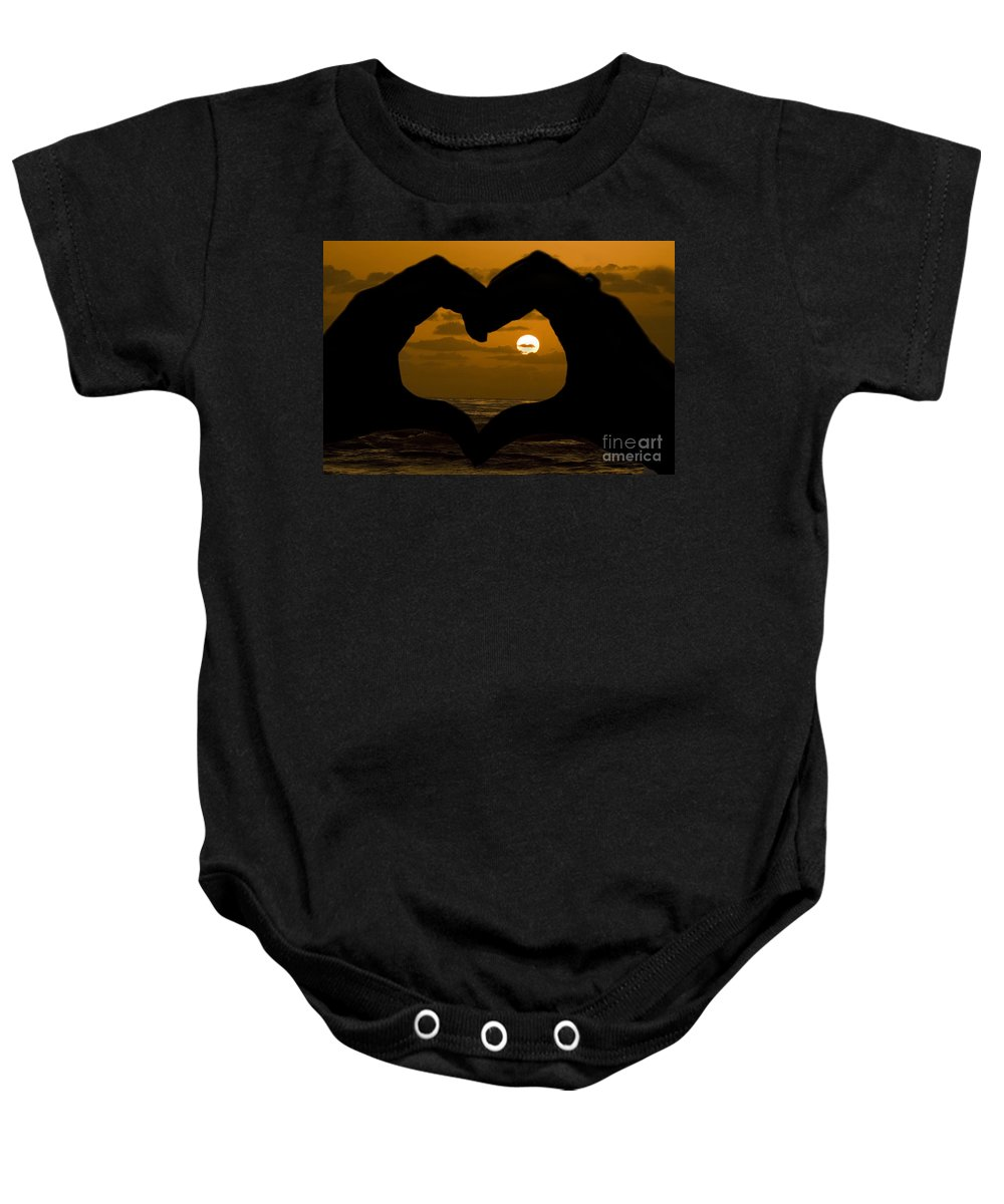 Sunset Baby Onesie featuring the photograph Sunset Hearts by Daniel Knighton
