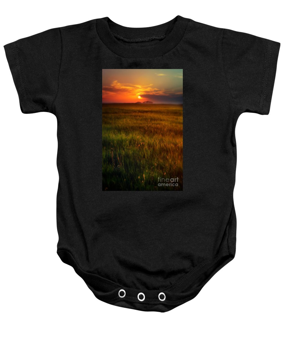 Sky Baby Onesie featuring the photograph Sunset Over Field by Jill Battaglia