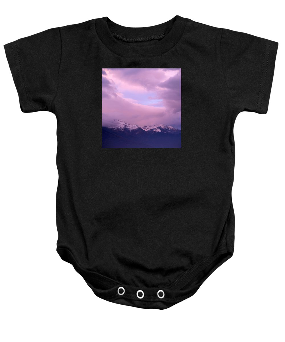 Mountain Baby Onesie featuring the photograph Sunset Over Snow-capped Mountains by Ulrich Kunst And Bettina Scheidulin