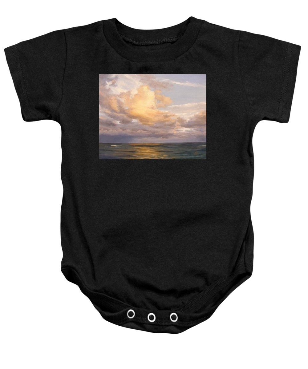 Beautiful Evening Clouds Baby Onesie featuring the painting Sunset Sky by Olena Lopatina