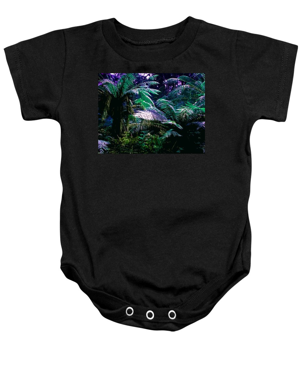 Tropical Baby Onesie featuring the digital art Surreal Tropical Forest Drawing Illustrated Scene by Phill Petrovic