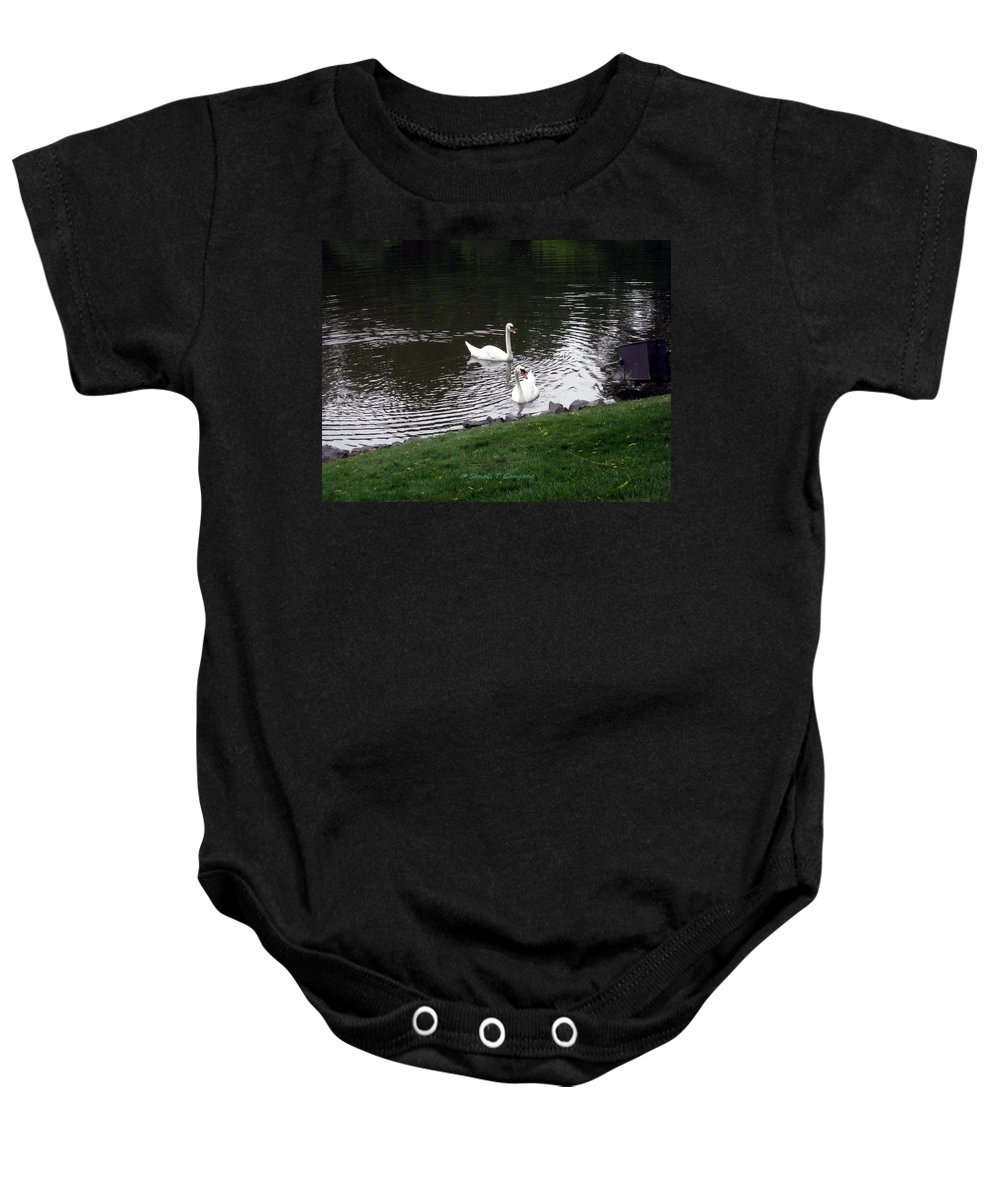 Swan Couple Baby Onesie featuring the photograph Swan Couple by Sonali Gangane