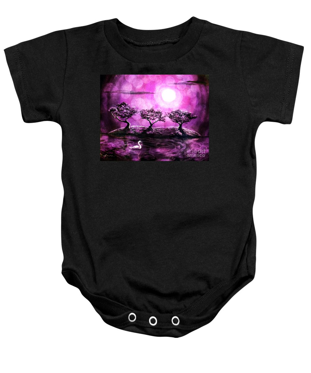 Pink Baby Onesie featuring the digital art Swan In A Magical Lake by Laura Iverson